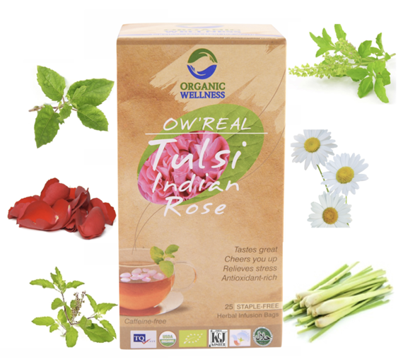 Organic Wellness INDIAN ROSE TULSI  herbata indyjska ajurwedyjska